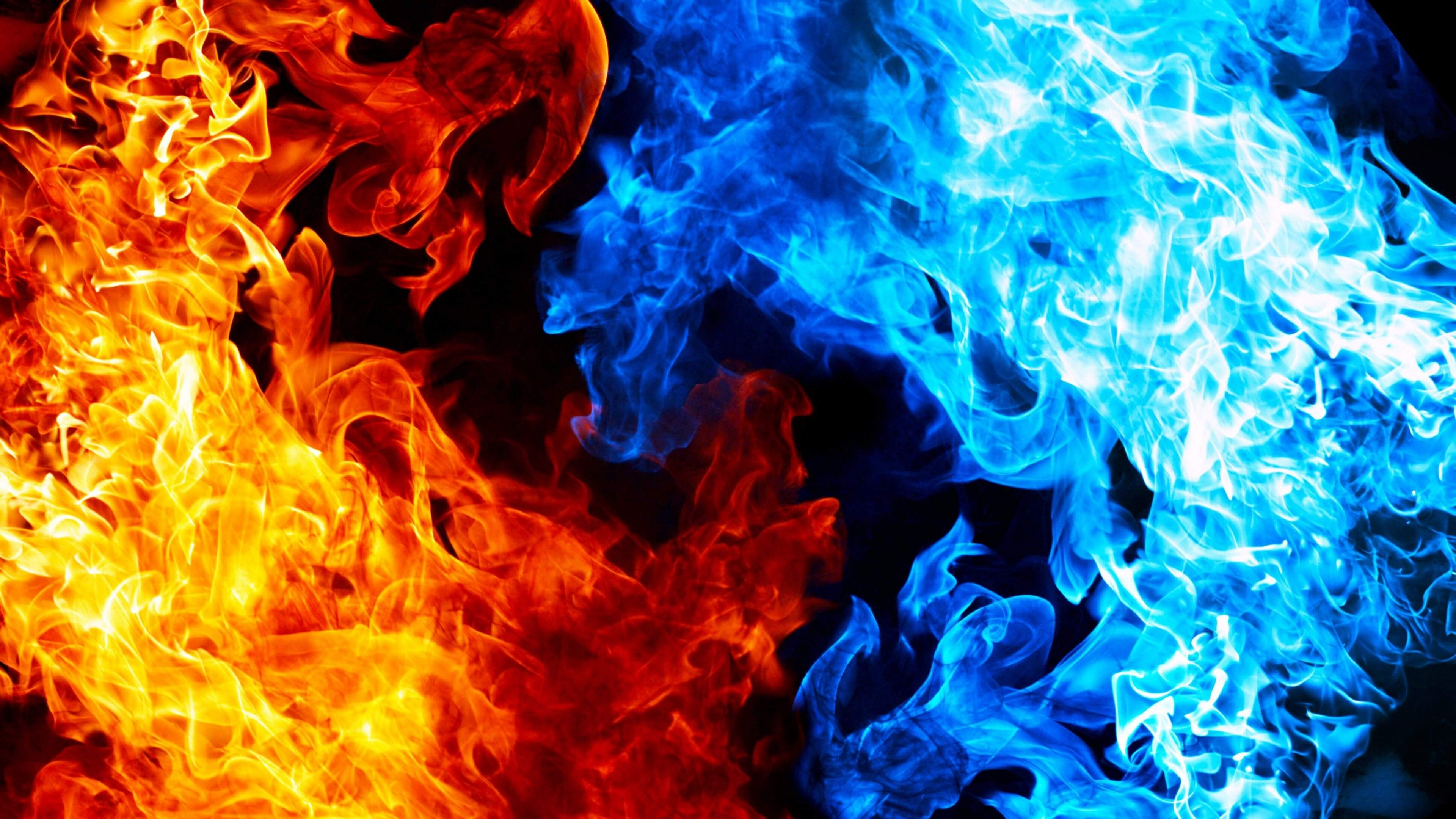 3840x2160 - Red and Blue Fire 21
